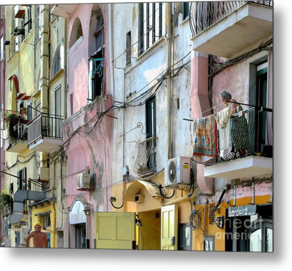 Laundry Day In Procida Metal Print