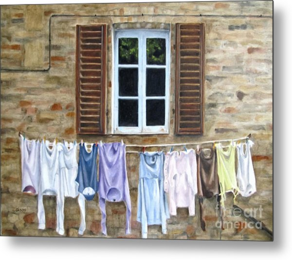 Laundry Day In Tuscany Metal Print by Karen Olson