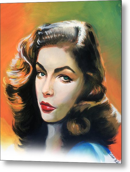 Lauren Bacall Metal Print by Robert Korhonen