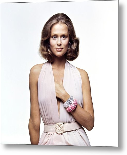 Lauren Hutton Wearing A Galanos Dress Metal Print by Bert Stern