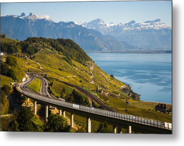 Lausanne To Montreux Metal Print