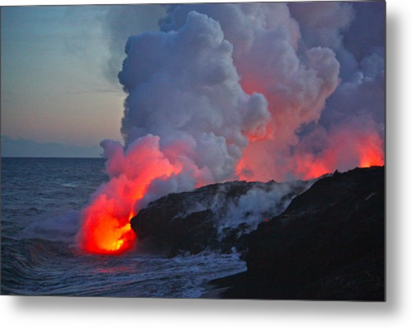 Lava Flow At Sunset In Kalapana Metal Print