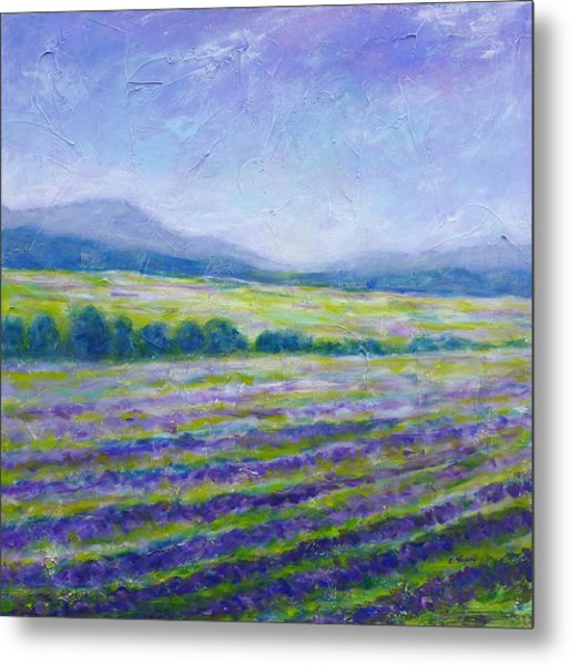 Metal Print featuring the painting Lavender Field In Provence by Cristina Stefan