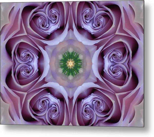 Lavender Rose Mandala Metal Print