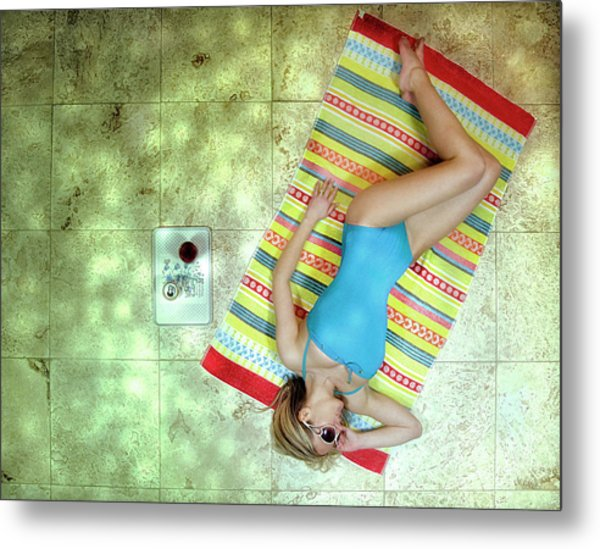 Lazing By Hockney\'s Swimming Pool Metal Print