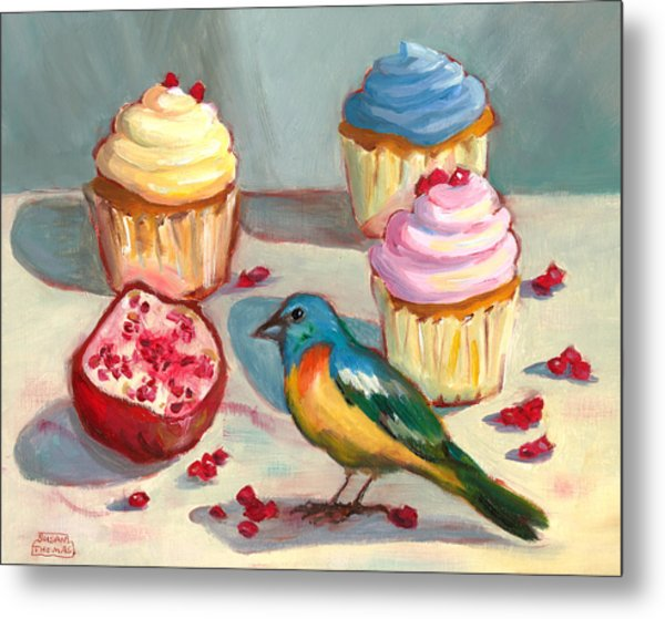Lazuli Bunting And Pomegranate Cupcakes Metal Print