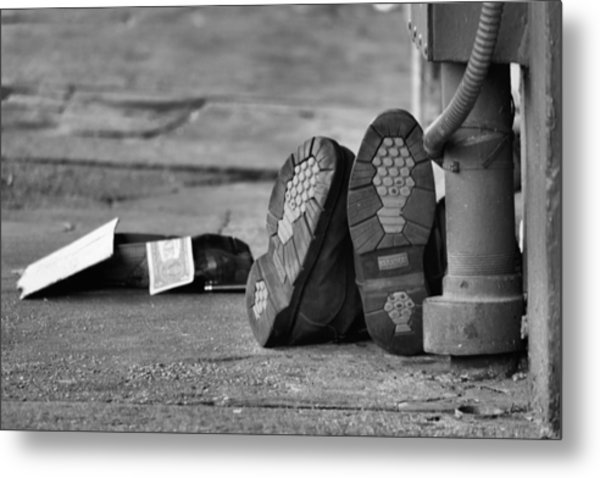Lazy Beggar In Black And White Metal Print