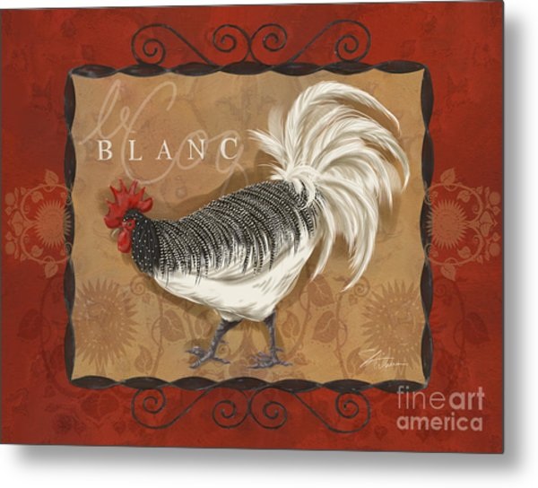Le Coq Rooster Blanc Metal Print