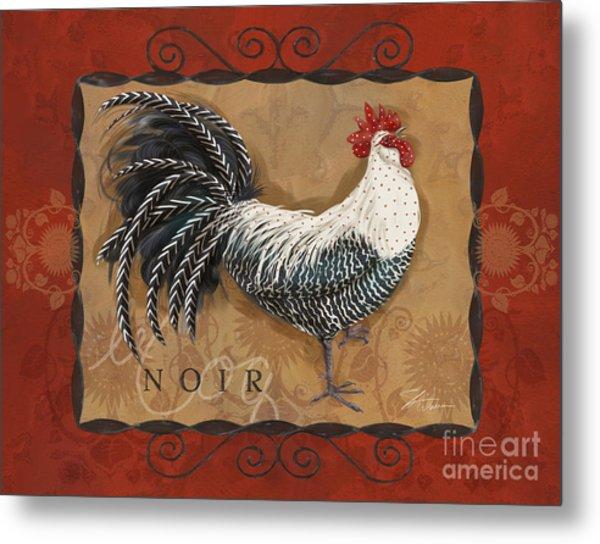 Le Coq Rooster Noir Metal Print