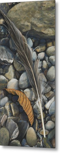 Leaf And Feather Metal Print