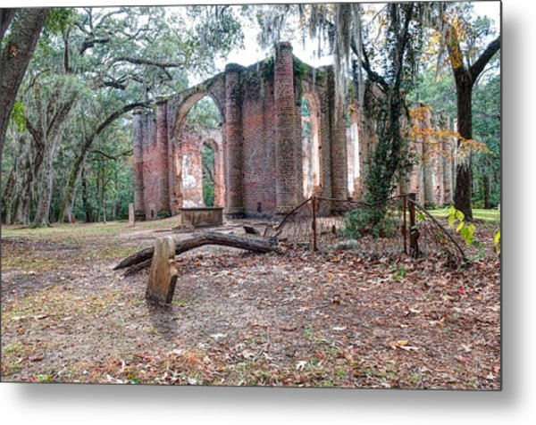 Leaning Tomb - Old Sheldon Church Ruins Metal Print