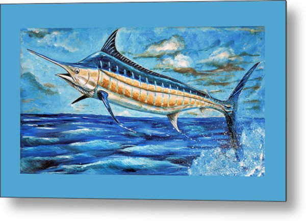 Metal Print featuring the painting Leaping Marlin by Steve Ozment