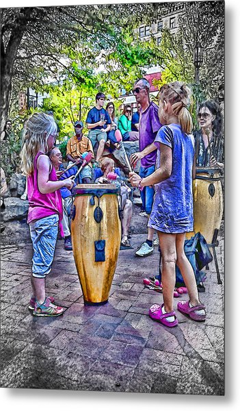 Learning The Drums Young Metal Print by John Haldane