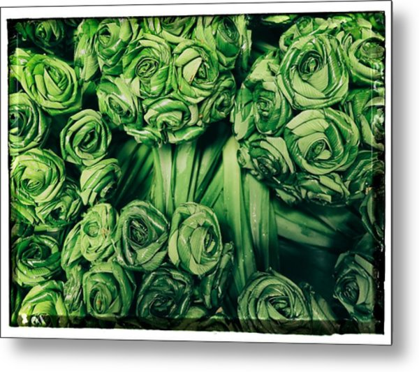 Leaves Woven Into Flowers Metal Print by River Engel