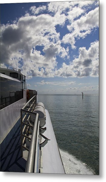 Leaving The Channel Metal Print by Debbie Cundy