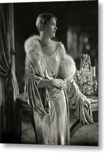 Lee Miller Wearing An Evening Gown Metal Print