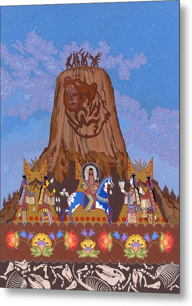 Metal Print featuring the painting Legend Of Bear's Tipi by Chholing Taha