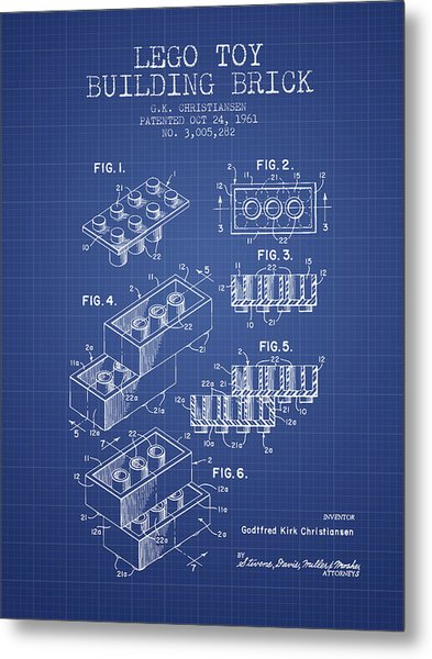 Lego Toy Building Brick Patent From 1961 - Blueprint Metal Print