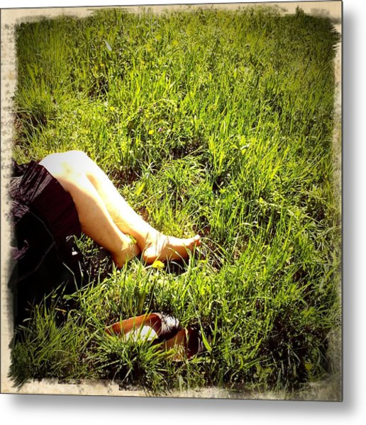 Legs Of A Woman And Green Grass Metal Print