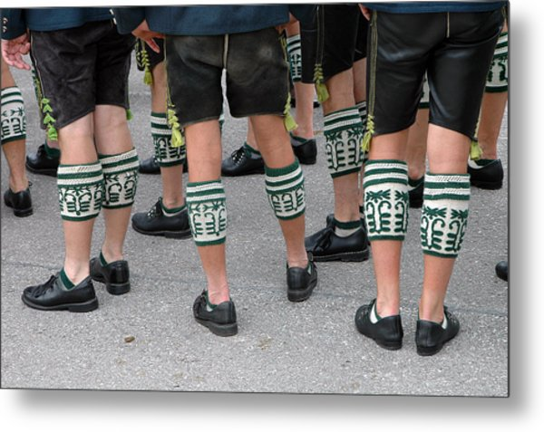 Legs Of Men With Traditional Bavarian Half Stockings Metal Print
