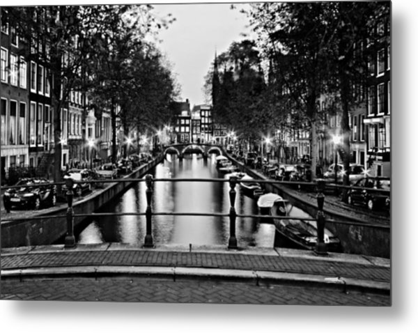 Leidsegracht Canal At Night / Amsterdam Metal Print