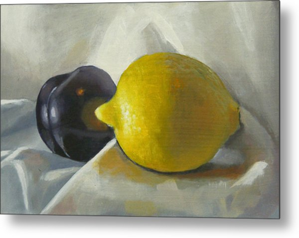 Lemon And Plum Metal Print by Peter Orrock