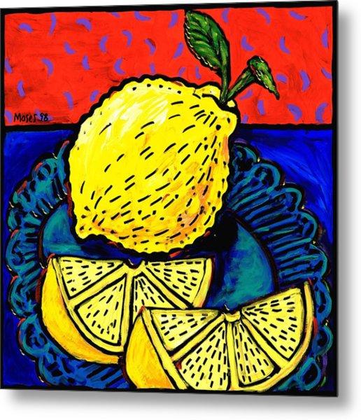 Lemon And Two Slices Metal Print