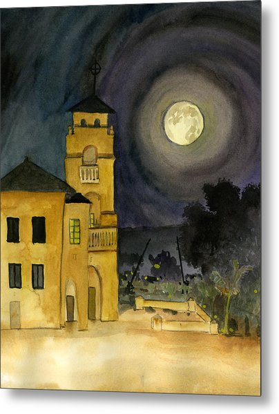 Lemon Grove Church By Full Moon Metal Print