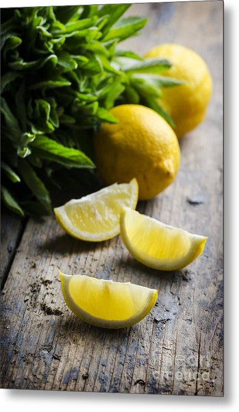 Lemon Slices Metal Print