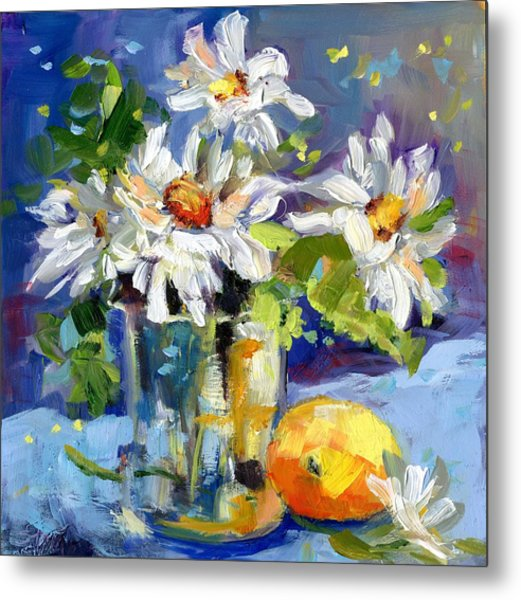 Lemonade Daisies Metal Print
