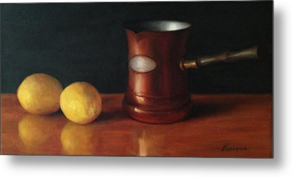 Lemons And Copper Metal Print