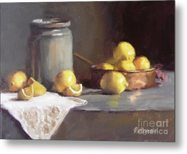 Lemons In Copper Pan  Metal Print