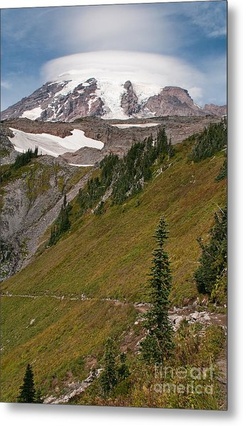 Lenticular Cloud Atop Mt Rainier Metal Print