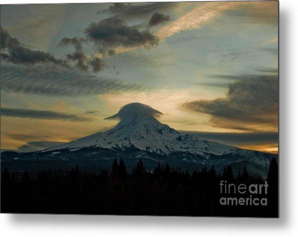 Lenticular Sunset On Mount Hood Metal Print by Cari Gesch