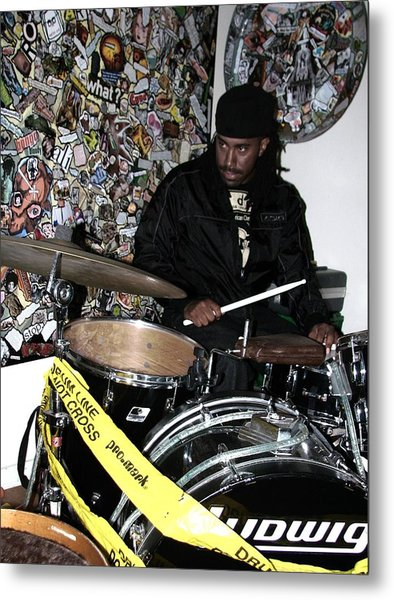 Leo Fierce On Drums Metal Print by Cleaster Cotton