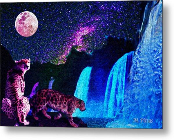 Leopard/chetah  In The Moonlight Metal Print