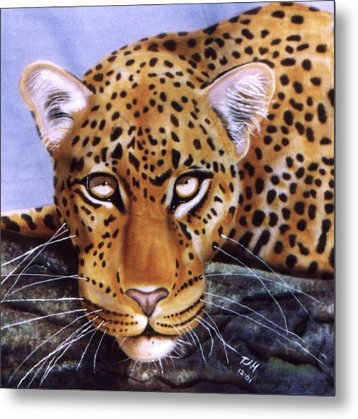 Metal Print featuring the painting Leopard In A Tree by Thomas J Herring