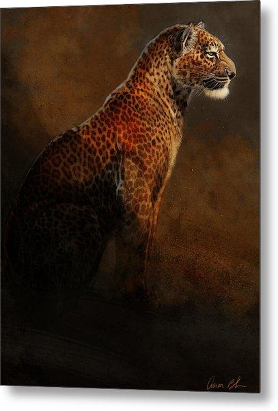 Leopard Portrait Metal Print