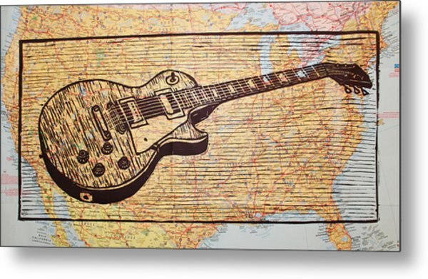 Les Paul On Usa Map Metal Print