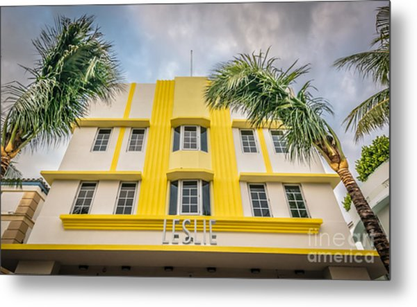 Leslie Hotel South Beach Miami Art Deco Detail - Hdr Style Metal Print by Ian Monk