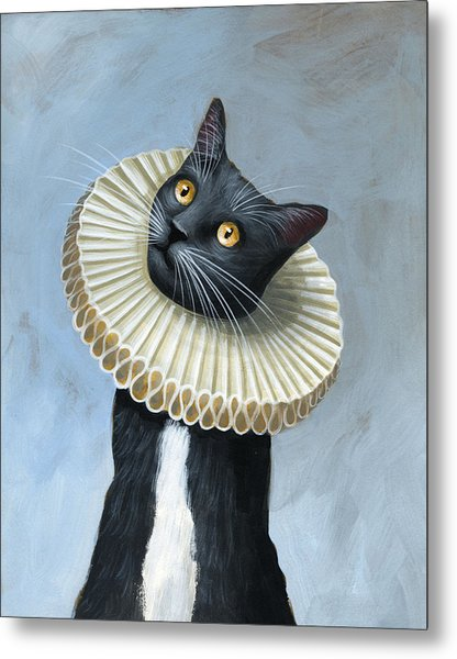 Less Is More ... Tuxedo Cat Art Painting Metal Print