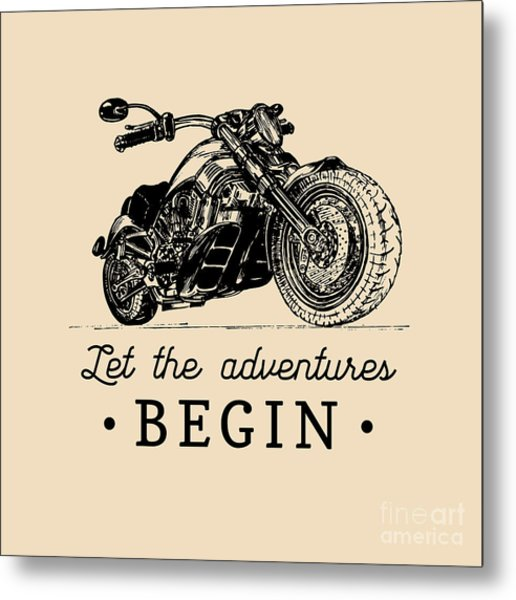 Let The Adventures Begin Inspirational Metal Print by Vlada Young