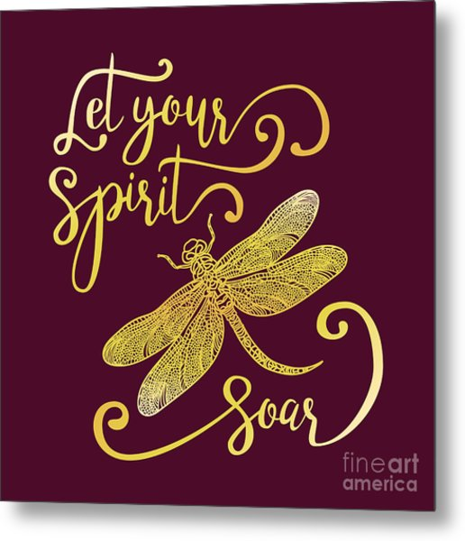Let Your Spirit Soar. Hand Drawn Metal Print by Trigubova Irina