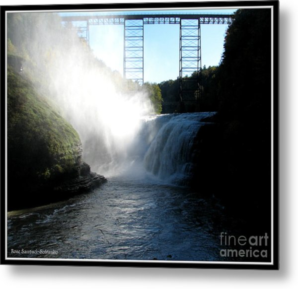 Letchworth State Park Upper Falls And Railroad Trestle Metal Print