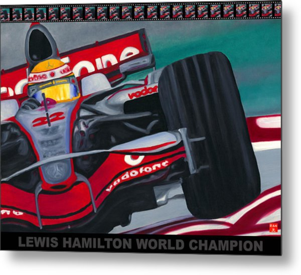 Lewis Hamilton F1 World Champion Pop Metal Print