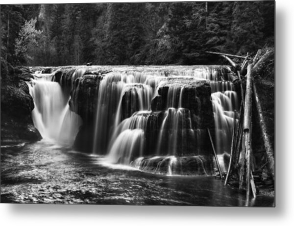 Lewis River Lower Falls Black And White Metal Print
