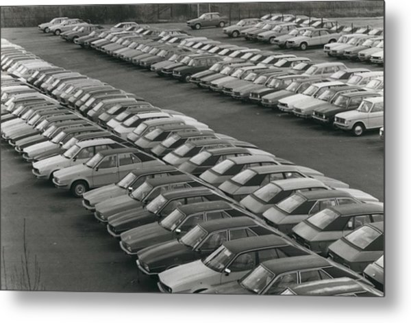 Leyland Cars Stockpiled As Sales Slump Metal Print by Retro Images Archive