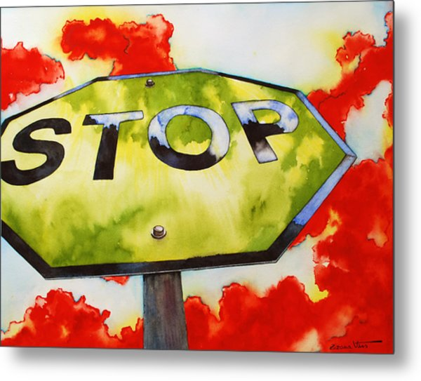 Liberating Stop Sign Metal Print by Zuzana Vass
