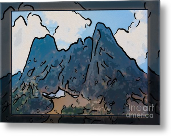 Liberty Bell Mountain Abstract Landscape Painting Metal Print