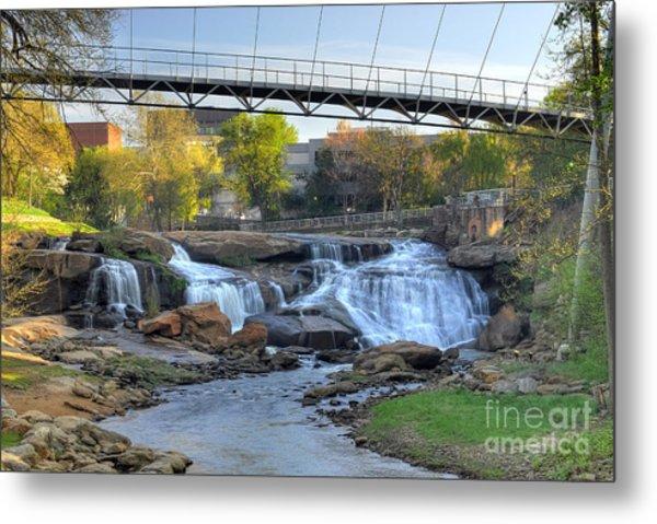 Liberty Bridge And The Falls In Downtown Greenville Sc Metal Print